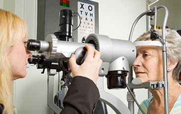 Lady has specialist eye examination